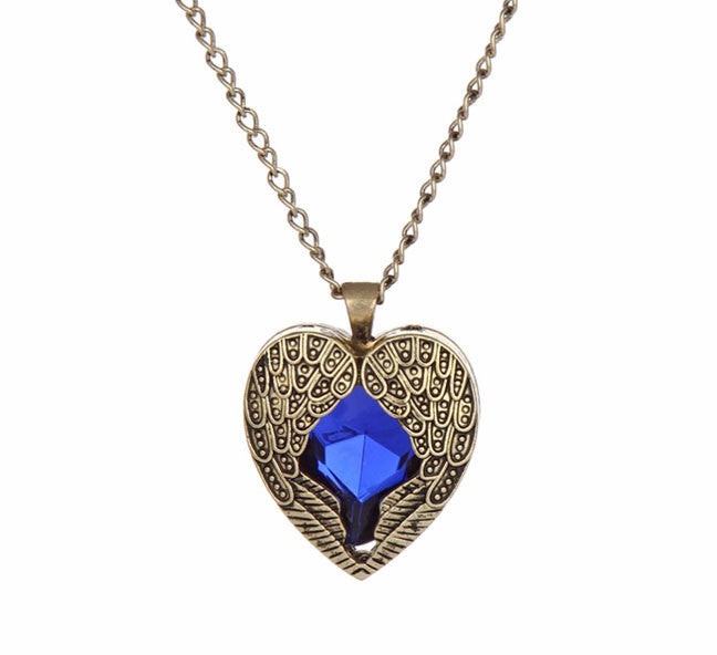 Blue crystal heart with angel wings pendant fashion in punjab blue crystal heart with angel wings pendant aloadofball Images
