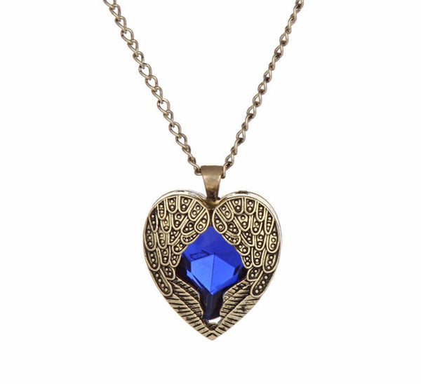 Blue Crystal Heart with Angel Wings Pendant. - Fashion In Punjab