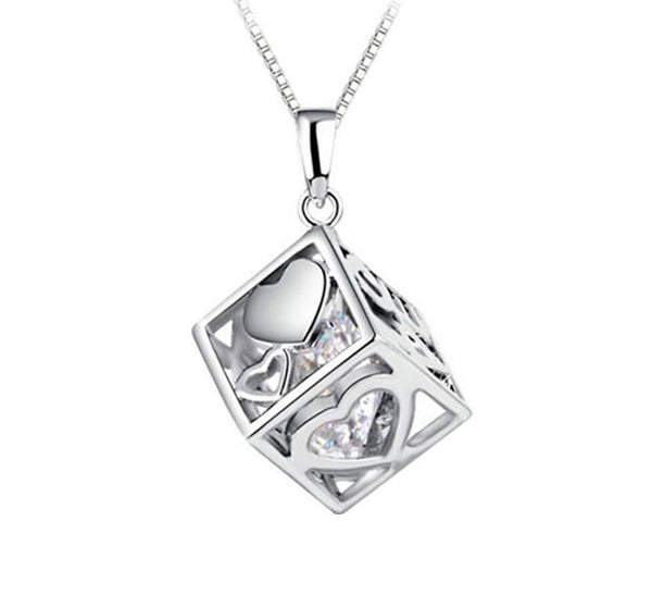 Love Hearts Cube Crystal Pendant. - Fashion In Punjab