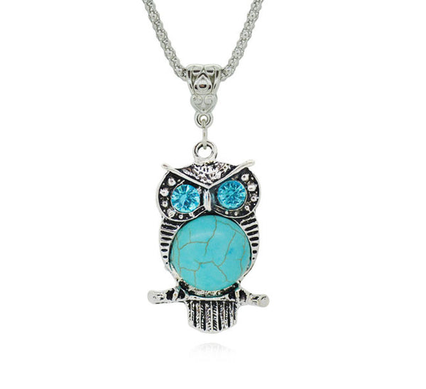 Owl Silver Plated Turquoise Pendant. - Fashion In Punjab