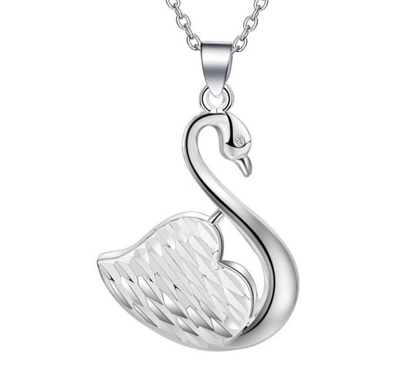 Swan Silver Plated Pendant. - Fashion In Punjab