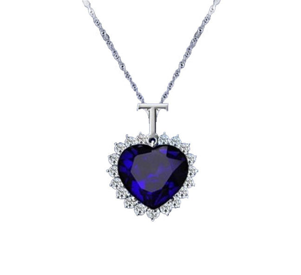 Blue Crystal Heart Pendant. - Fashion In Punjab