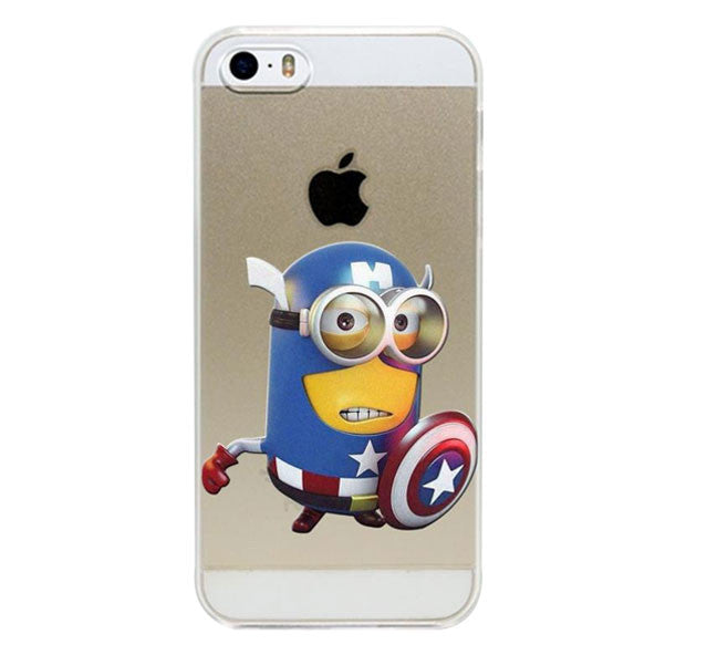 half off 2881b 478ee Minion Captain America Style Transparent Cover For Apple iPhone 5, 5S, SE
