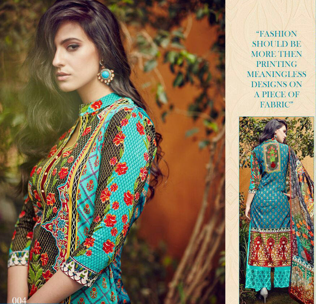 Razia Lawn Print with Dupatta & Plazzo Bottoms - Fashion In Punjab
