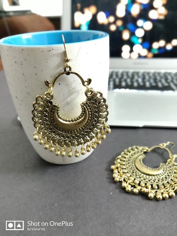 Style Statement chandbali Antique silver earrings - Fashion In Punjab