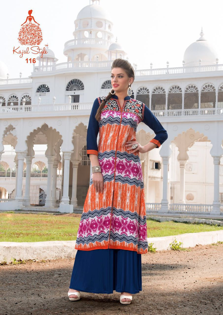 Punajbi Kurti - Indigo Blue and Multicolour Rayon - Fashion In Punjab