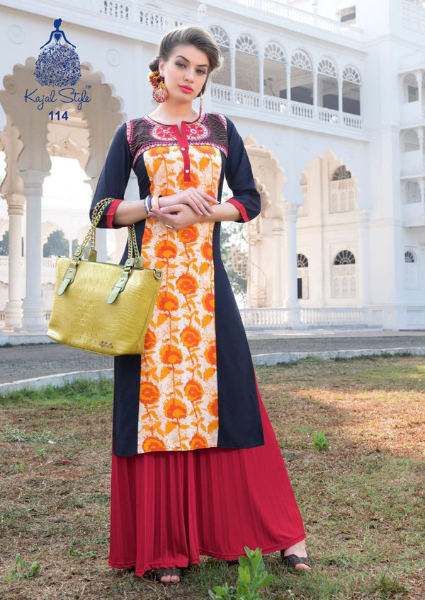 Punajbi Kurti - Orange and Blue Rayon by Fashion In Punjab