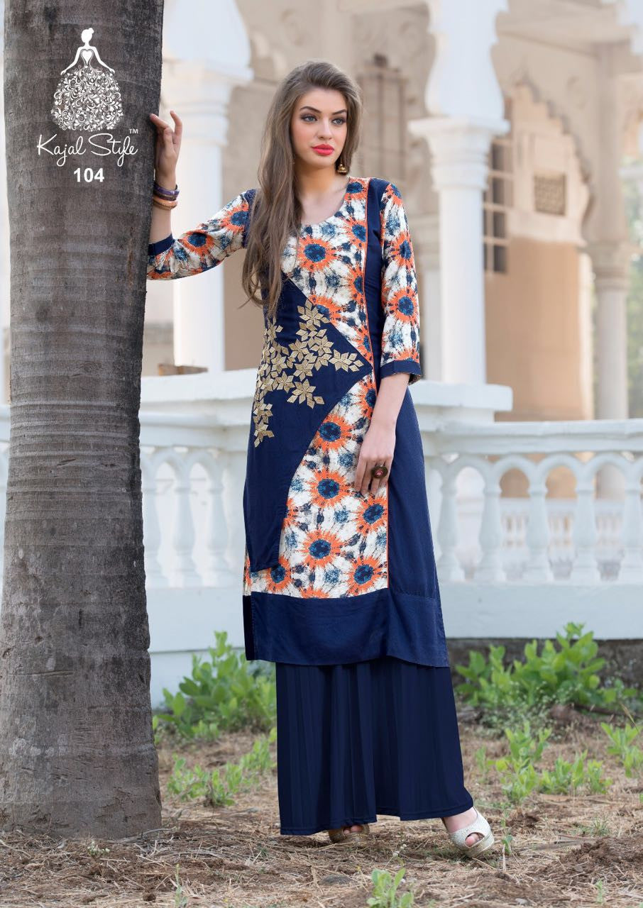 Punajbi Kurti - Magenta and Indigo Blue Rayon by Fashion In Punjab