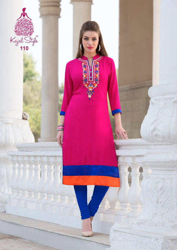Punjabi Kurti - Ruby Pink Rayon by Fashion In Punjab