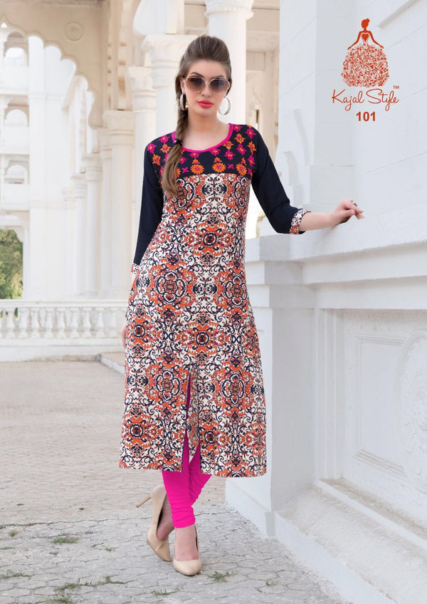 Punjabi Kurti - Beige and Black Rayon by Fashion In Punjab
