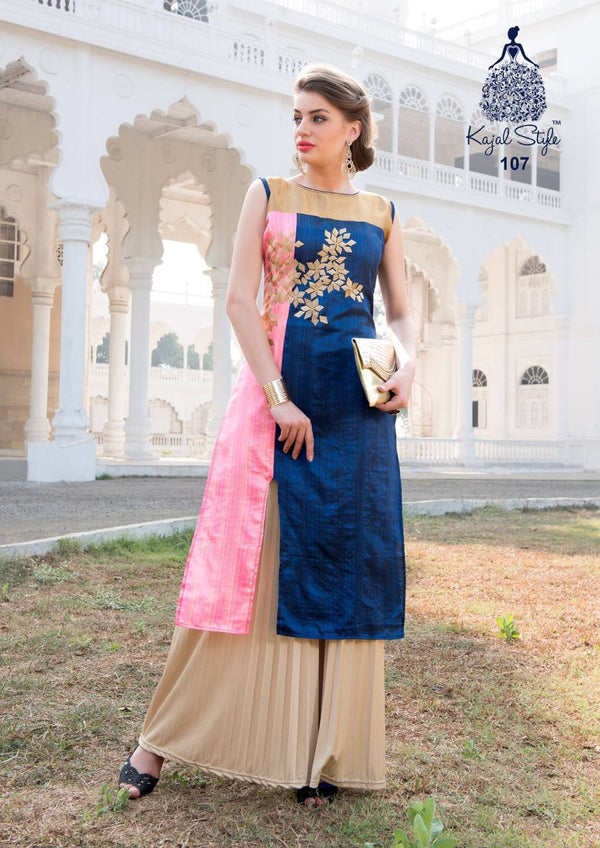 Punajbi Kurti - Pink and Denim Blue Rayon by Fashion In Punjab