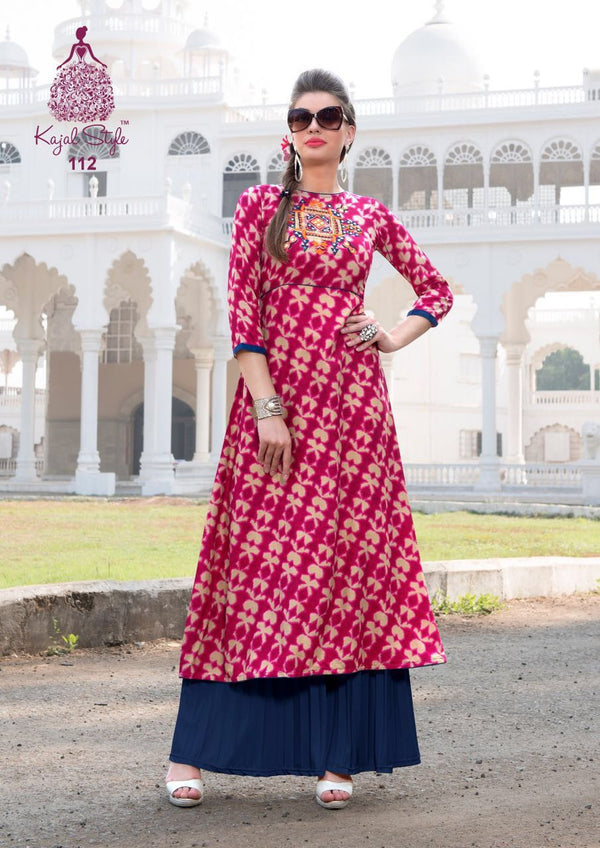 Punajbi Kurti - Beige and Magenta Rayon by Fashion In Punjab