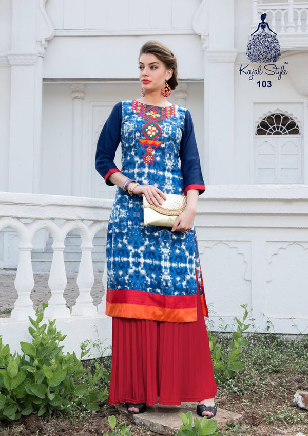 Punajbi Kurti - Admiral Blue Rayon By Fashion In Punjab
