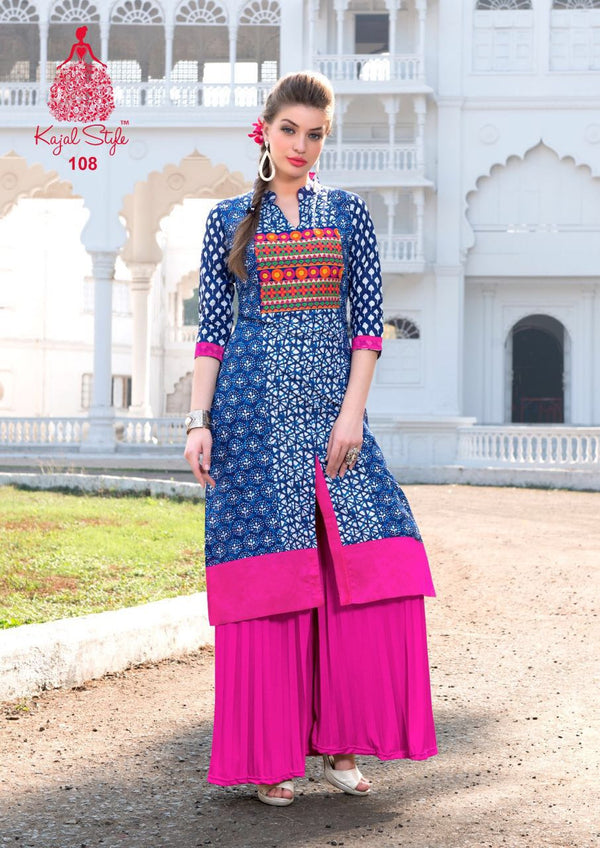 Punajbi Kurti - Denim Blue and White Rayon By Fashion In Punjab