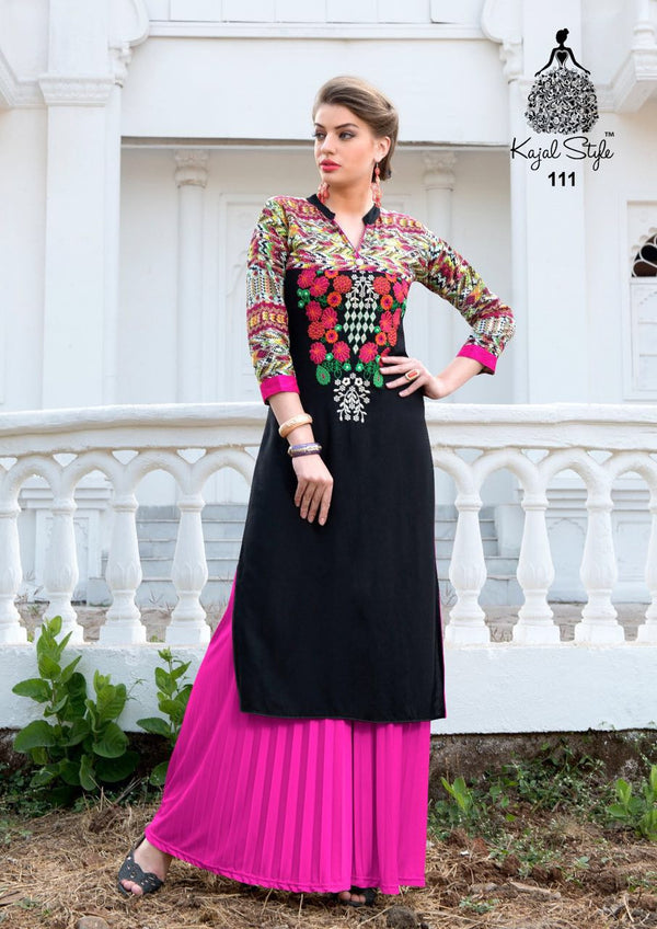 Punajbi Kurti - Yellow and Black Rayon by Fashion In Punjab