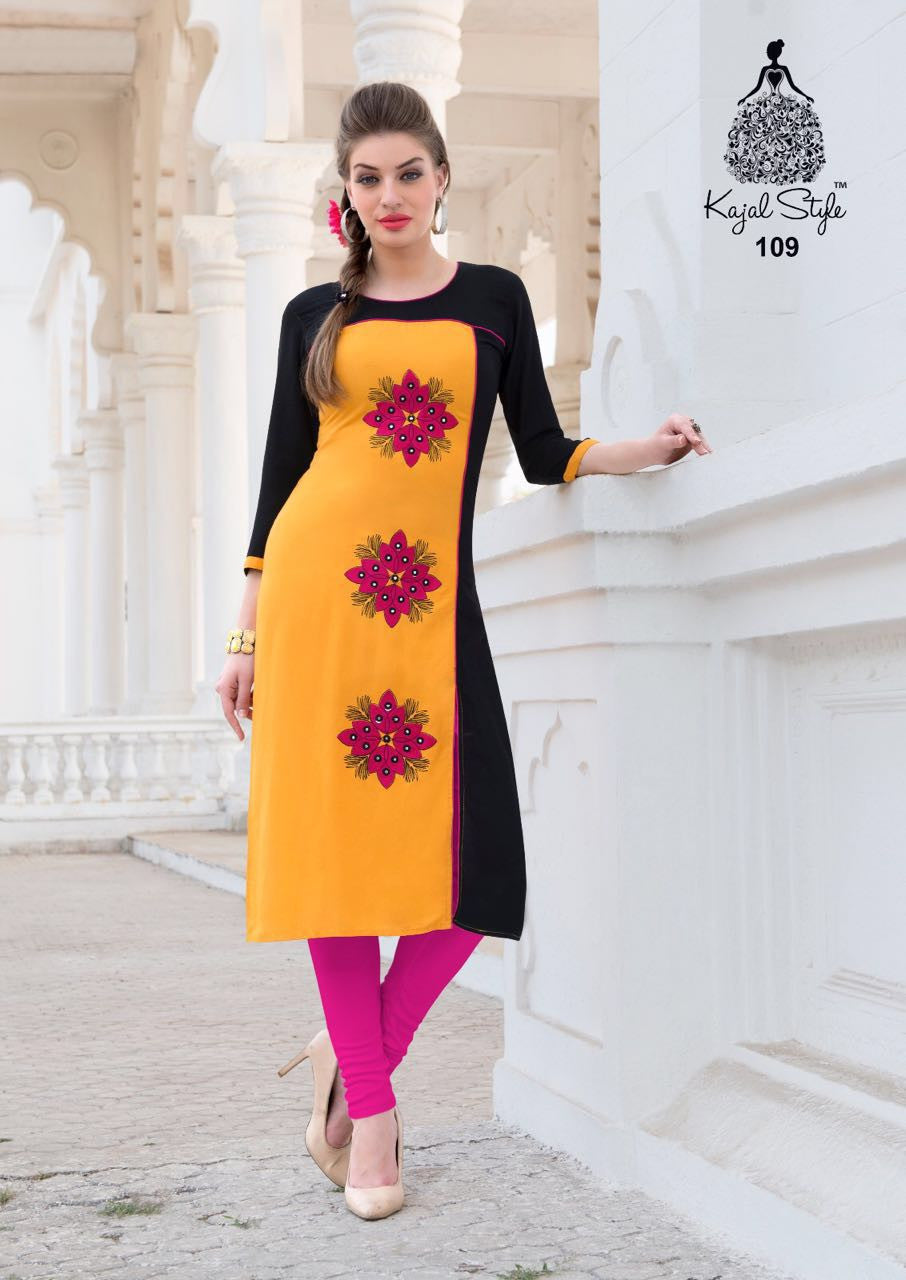 Punajbi Kurti - Yellow and Black Rayon - Fashion In Punjab