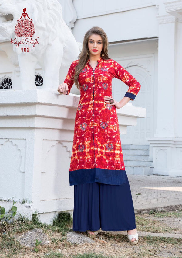 Punjabi Kurti - Tomato Red Rayon by Fashion In Punjab