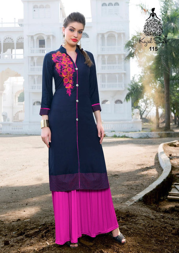 Punjabi Kurti - Indigo Blue and Magenta Rayon by Fashion In Punjab