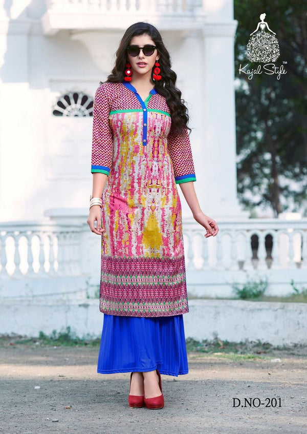 Multicolored Hand Screen Printed Long Punjabi Kurti by Fashion In Punjab