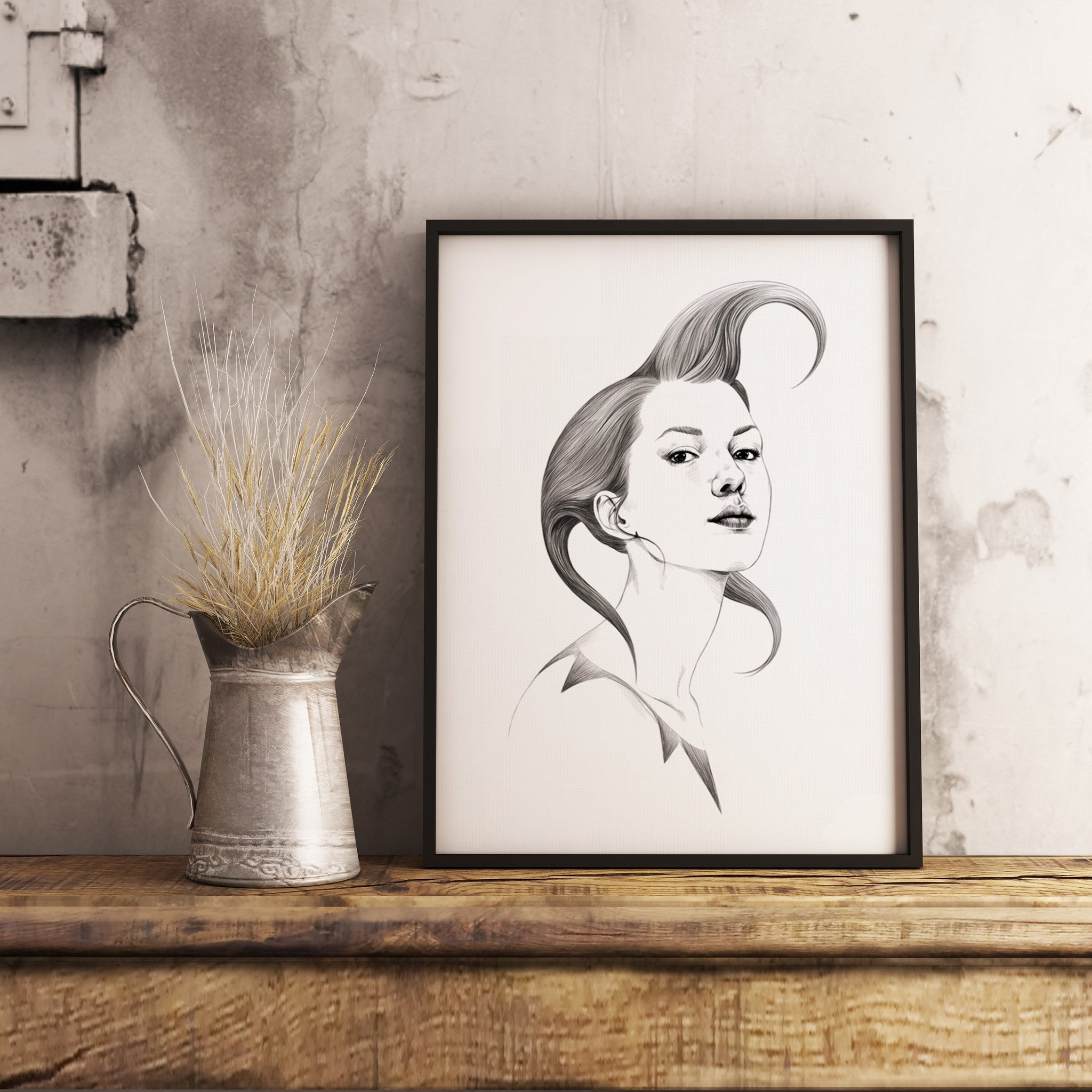 Pencil sketch framed wall art