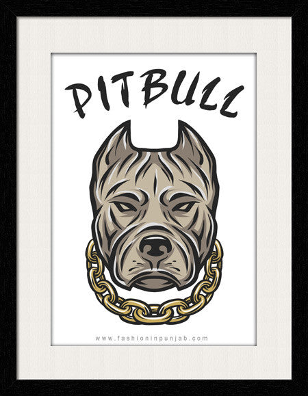 Pitbull - Framed Wall Art by Fashion In Punjab