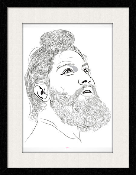 Sikh Men Face Sketch - Framed Wall Art - Fashion In Punjab