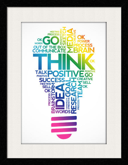 motivational quotes, Think Positive - Framed Wall Art By Fashion In Punjab
