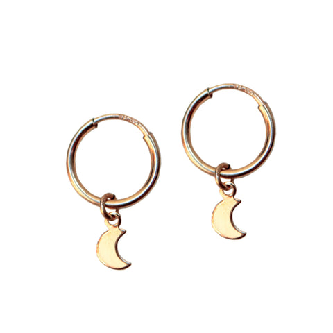 COSMIC MOON HOOPS<br/>14ct GOLD FILL