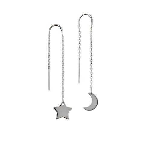 SHOOTING MOON & STAR EARRINGS<br>925 STERLING  SILVER