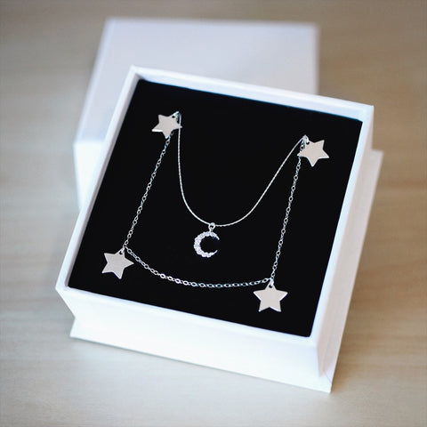 AURORA & LUNALIGHT NECKLACE SET<br>925 STERLING SILVER