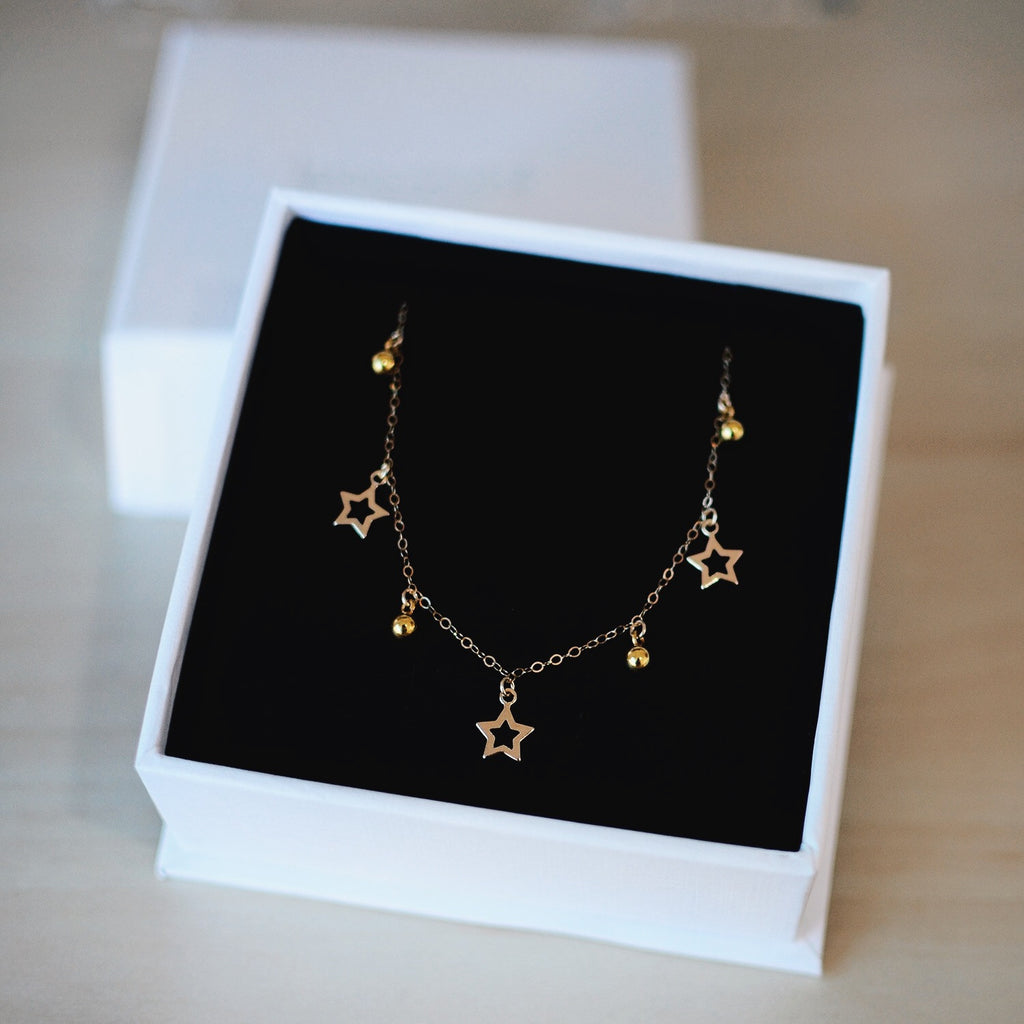 COSMIC STARS NECKLACE<br/>14ct GOLD FILL