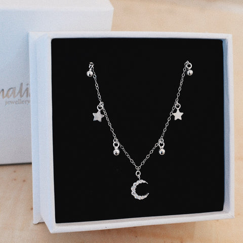 MOON & STARS NECKLACE<br/>925 STERLING SILVER