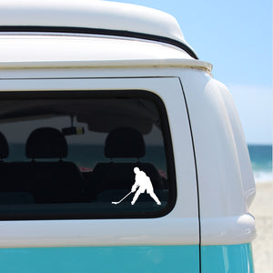Ice Hockey Chick Vinyl Sticker - woman ice hockey silhouette, car window decal, winter olympics