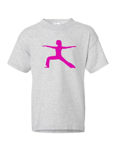 Warrior Yoga Chick Kids Short Sleeve T-Shirt