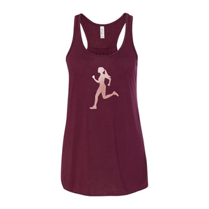 Rose Gold Runner Chick Flowy Racerback Tank Top