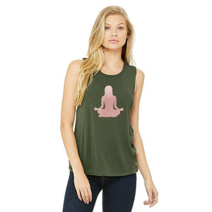 Rose Gold Om Yoga Chick Muscle Tank Top - Chick 9 Clothing