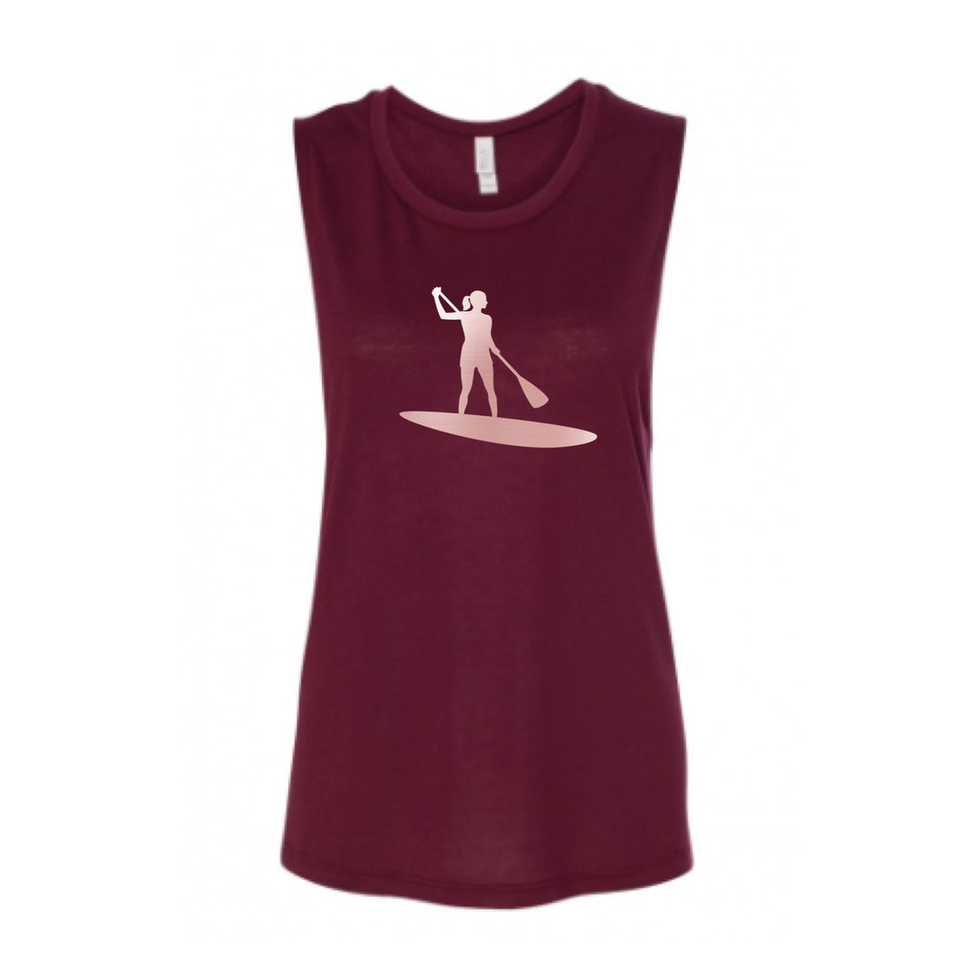 Rose Gold Stand Up Paddleboard Chick Muscle Tank Top