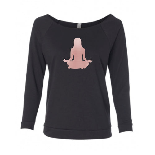 Rose Gold Om Yoga Chick Wide Neck Sweatshirt - Chick 9 Clothing