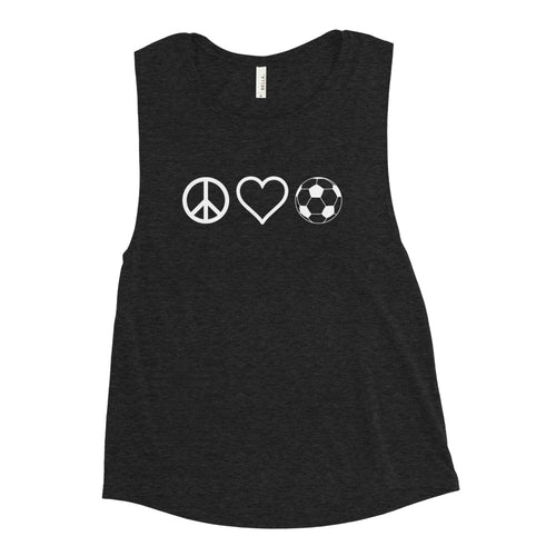 Peace Love and Soccer Muscle Tank