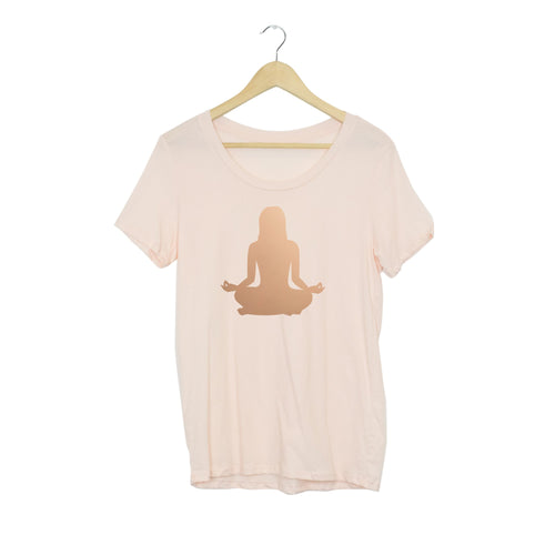 Rose Gold Om Yoga Chick Boyfriend Tee