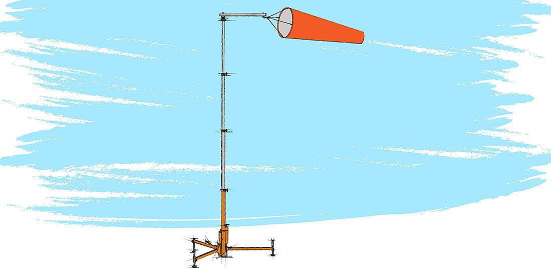 Deployable Freestanding Windsock Pole