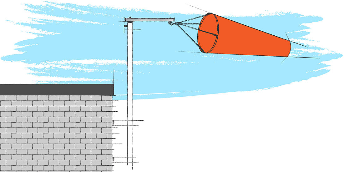 Permanent Wall Pole and windsock wall mount illustation