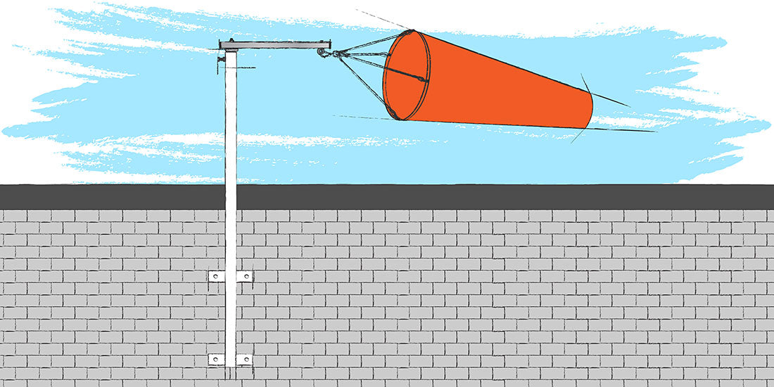 Permanent Wall Pole in wind illustration
