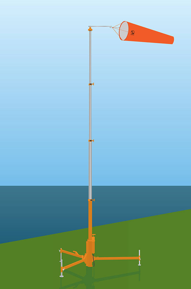 Deployable Freestanding Windsock pole set up with diagram