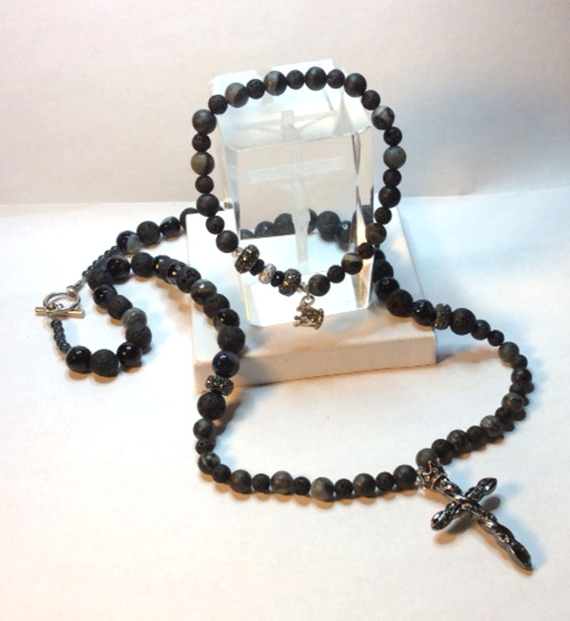 Men's Gemstone and Lava Beaded Cross Necklace and Beaded Crown Bracelet Set.