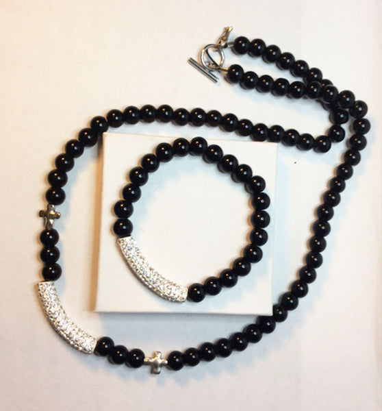 Black Onyx, metal and rhinestone column necklace and bracelet set.