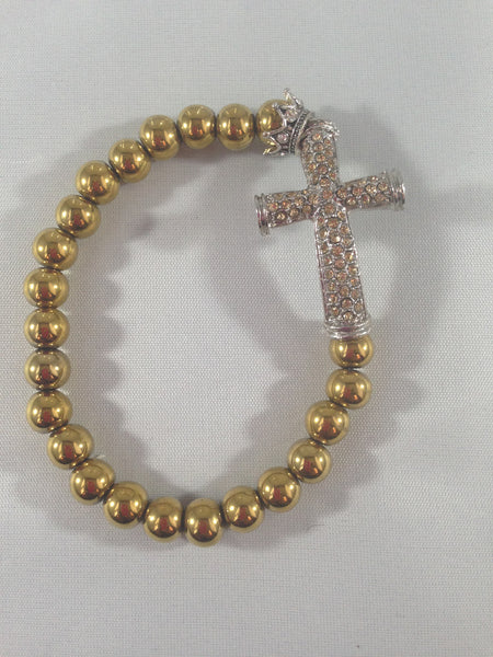 Gold Rhinestone Cross Bracelet