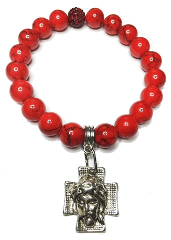 Red Turquoise Cross Bracelet
