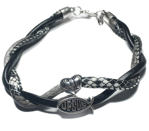 Follow Jesus Double Twisted Leather Bracelet