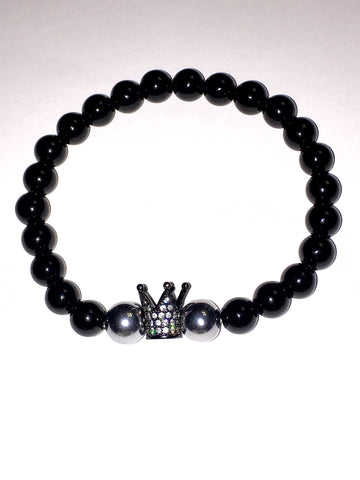 Men's Black Agate Crown Gemstone Bracelet